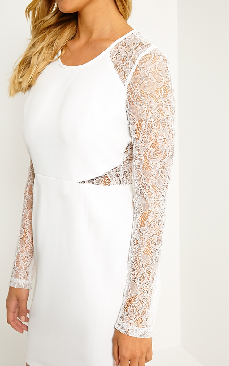 Katrine White Lace Sleeve Mini Dress 5