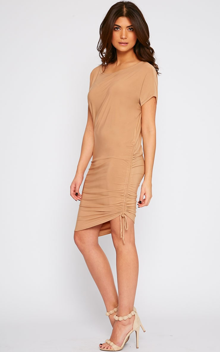 Joette Camel Slinky Gathered Dress 3