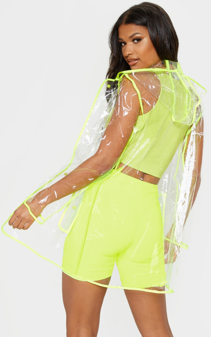 Neon Trim Pocket Detail Clear Rain Mac  2