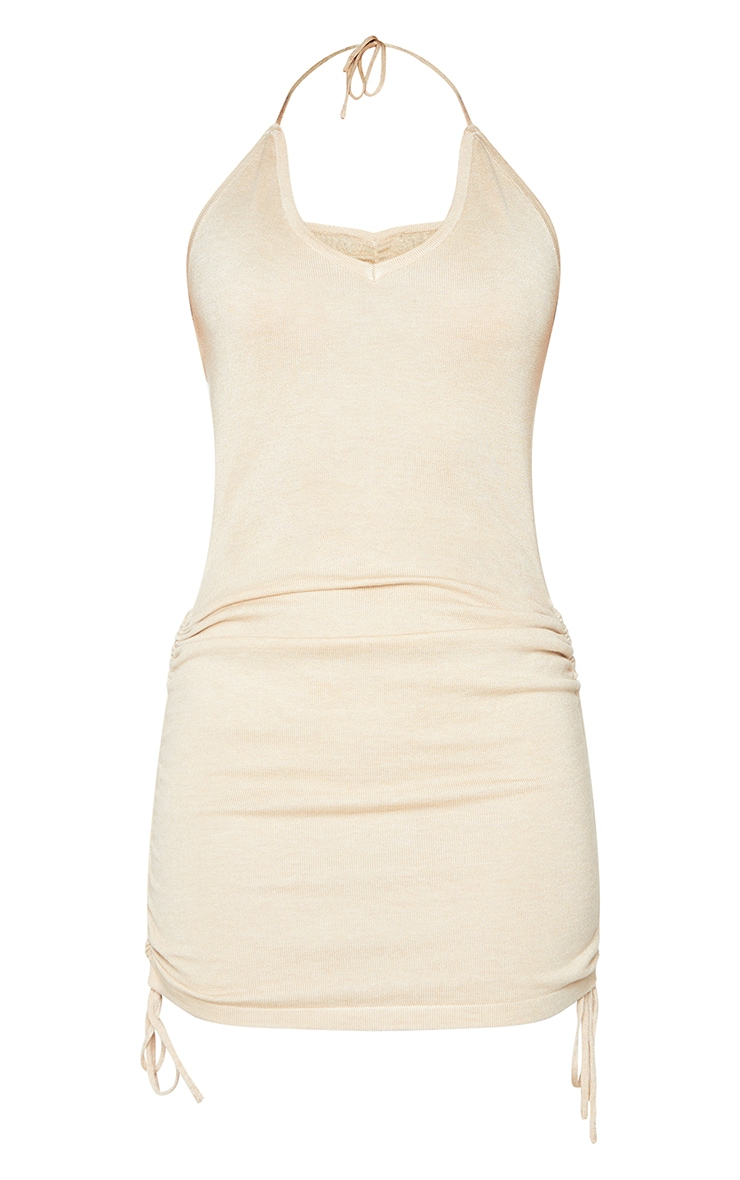 Stone Ruched V Neck Strappy Knitted Dress 5