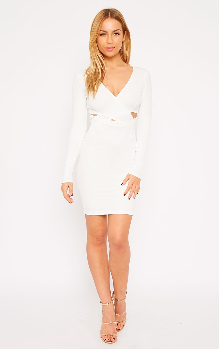 Hayley White Crepe Cross Over Dress 3