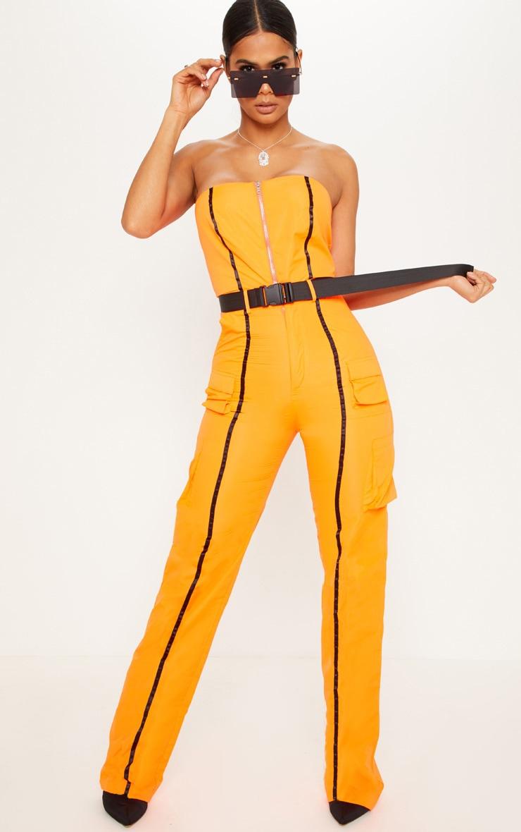 Neon Orange  Shell Suit Bandeau Jumpsuit 1