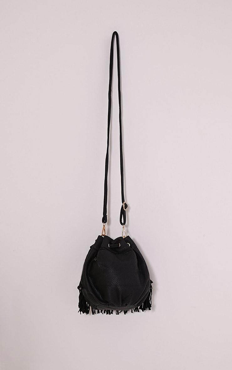Thori Black Fringe Drawstring Bag 1
