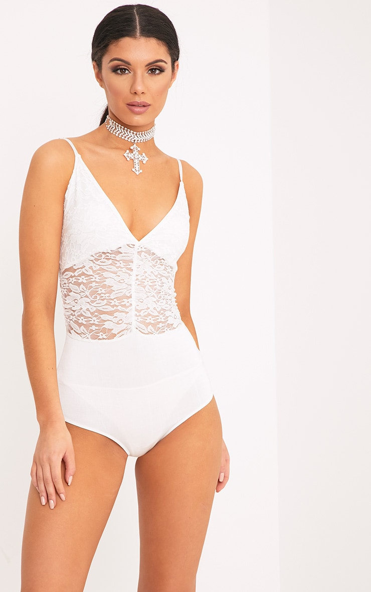 Lilah Cream Sheer Lace Ruched Strappy Thong Bodysuit 1