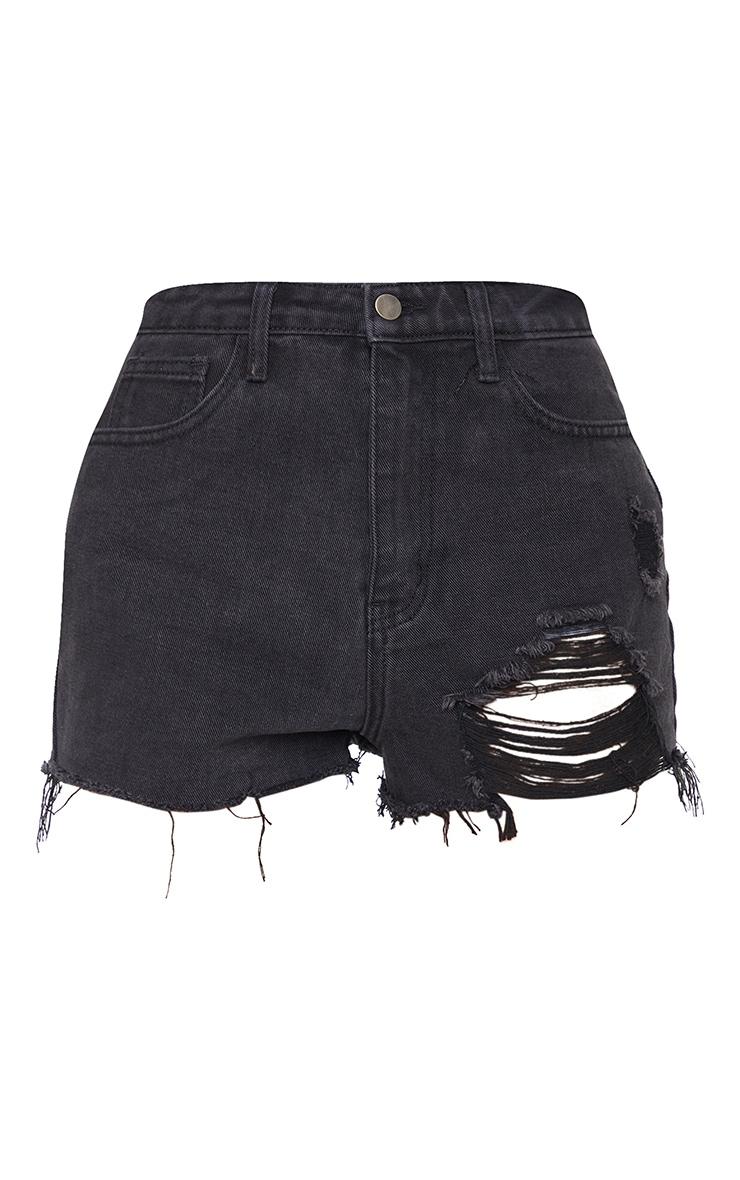PRETTYLITTLETHING Washed Black Distressed Denim Mom Shorts 6