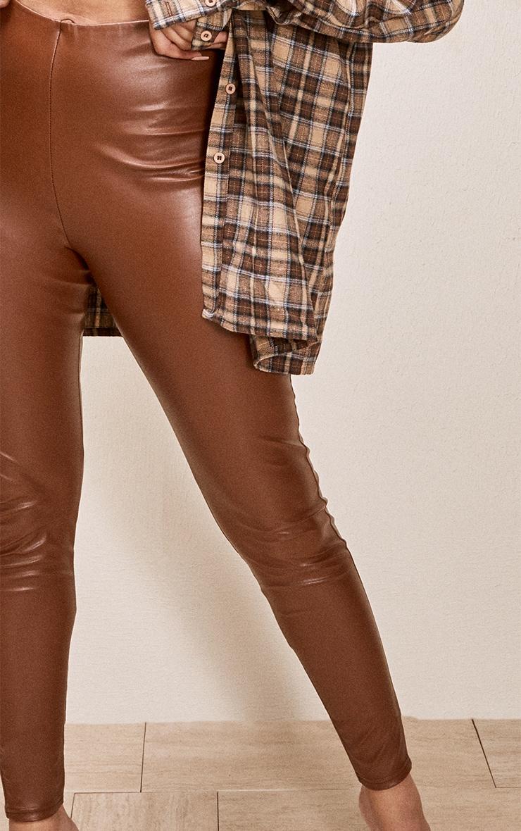 Tan Faux Leather Leggings 4