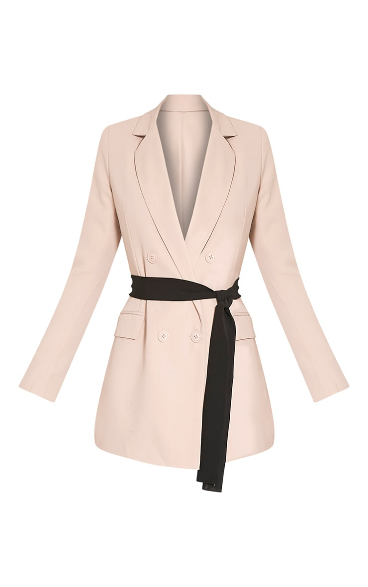 Rebecca Stone Contrast Belted Blazer 3