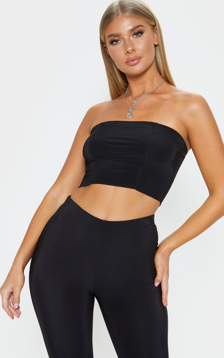 Helsa Black Slinky Bandeau Crop Top 1