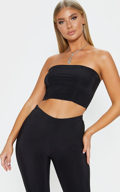 154968036e Helsa Black Slinky Bandeau Crop Top