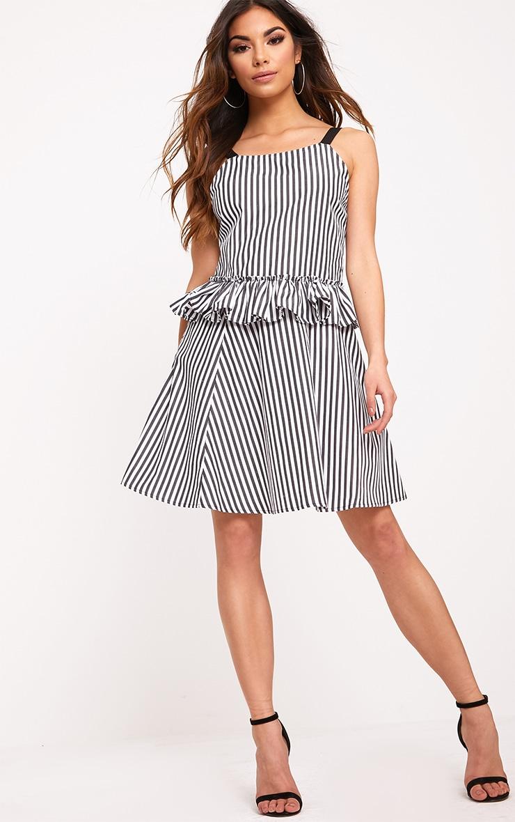 Maeve Grey Striped Waist Frill Detail Dress 1
