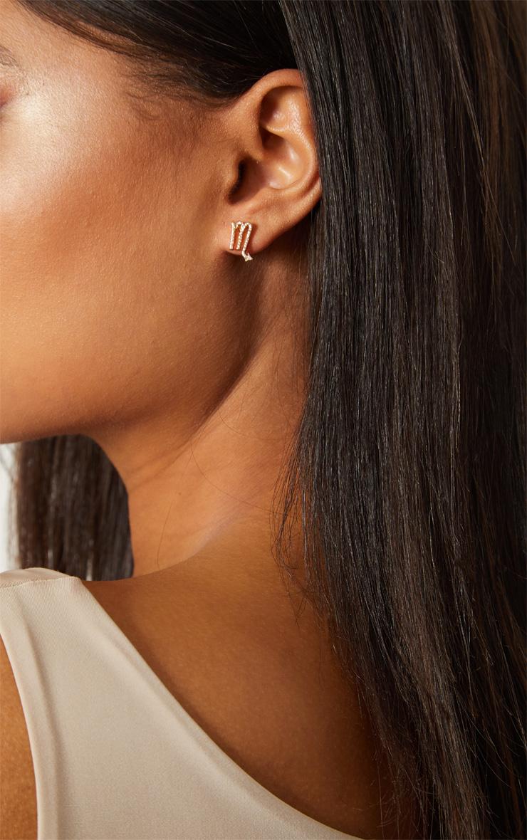 Gold Zodiac Scorpio Stud Earrings 1