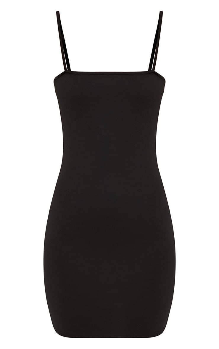 Desri Black Straight Neck Bodycon Dress 3