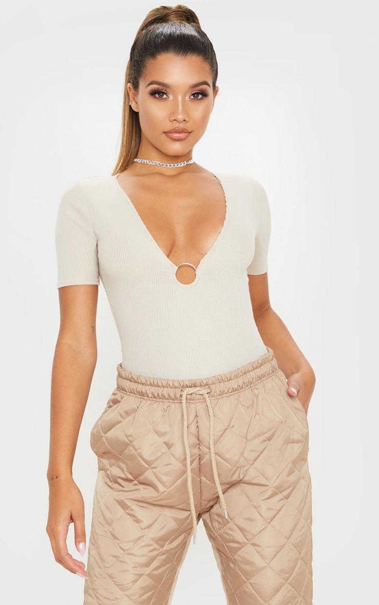 Sand Rib O Ring Short Sleeve Bodysuit 1