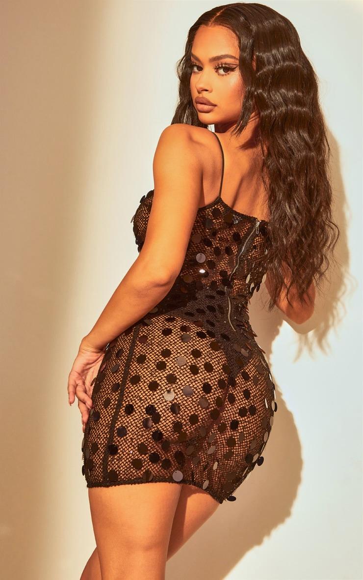 Black Sequin Fishnet Bodycon Dress 3