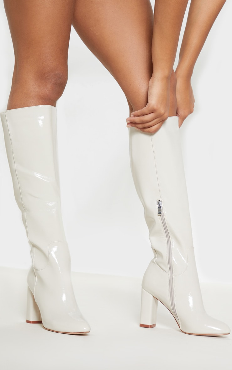 White Block Heel Patent Calf Boot 2
