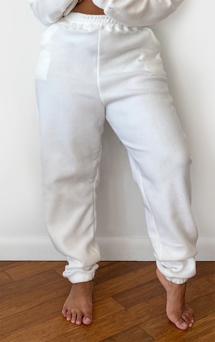 Plus White Brushed Sweat Oversized Joggers 2