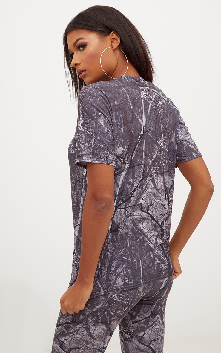 Grey Forest Print Camo Oversized T Shirt 2