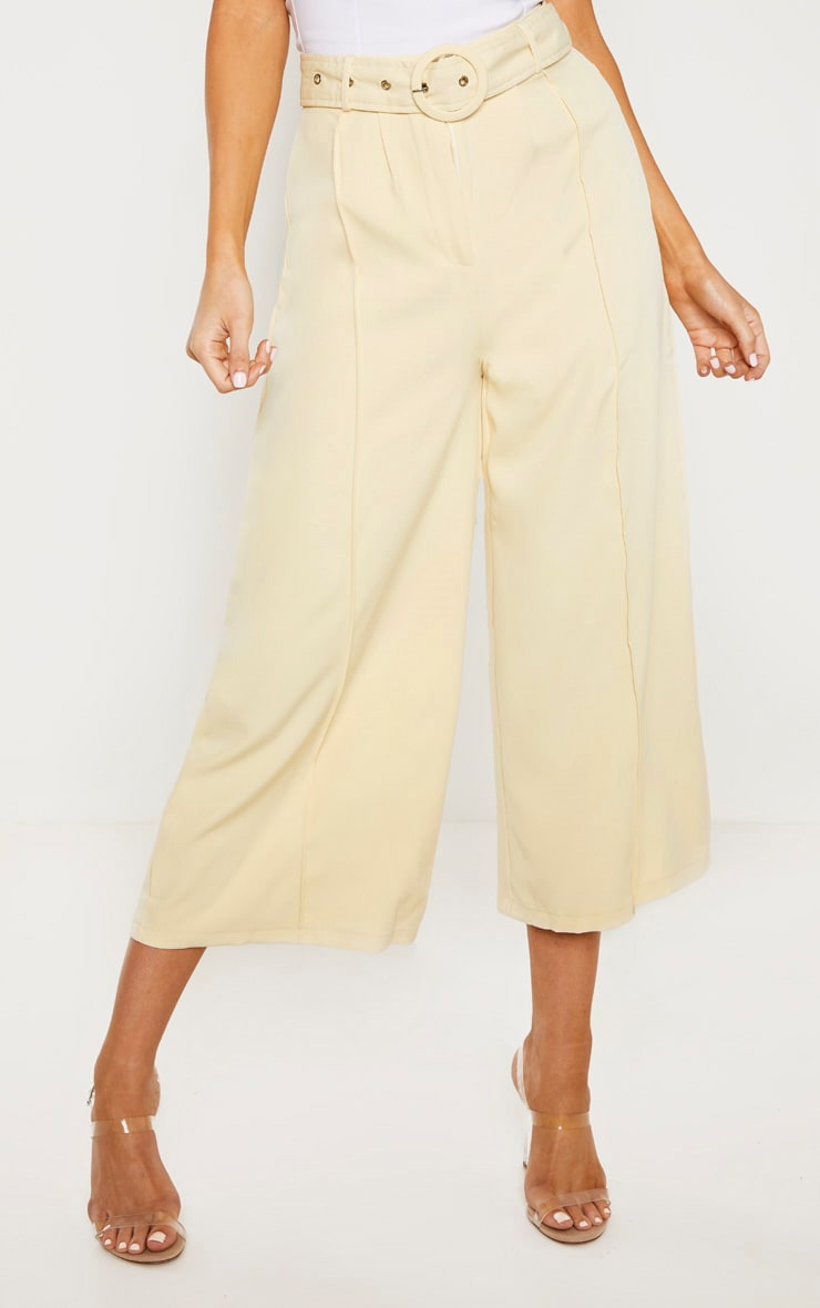 Tall Cream Circle Belt Wide Leg Culottes 2