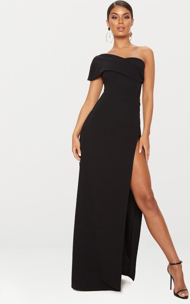 Black One Shoulder Draped Detail Extreme Split Maxi Dress 1