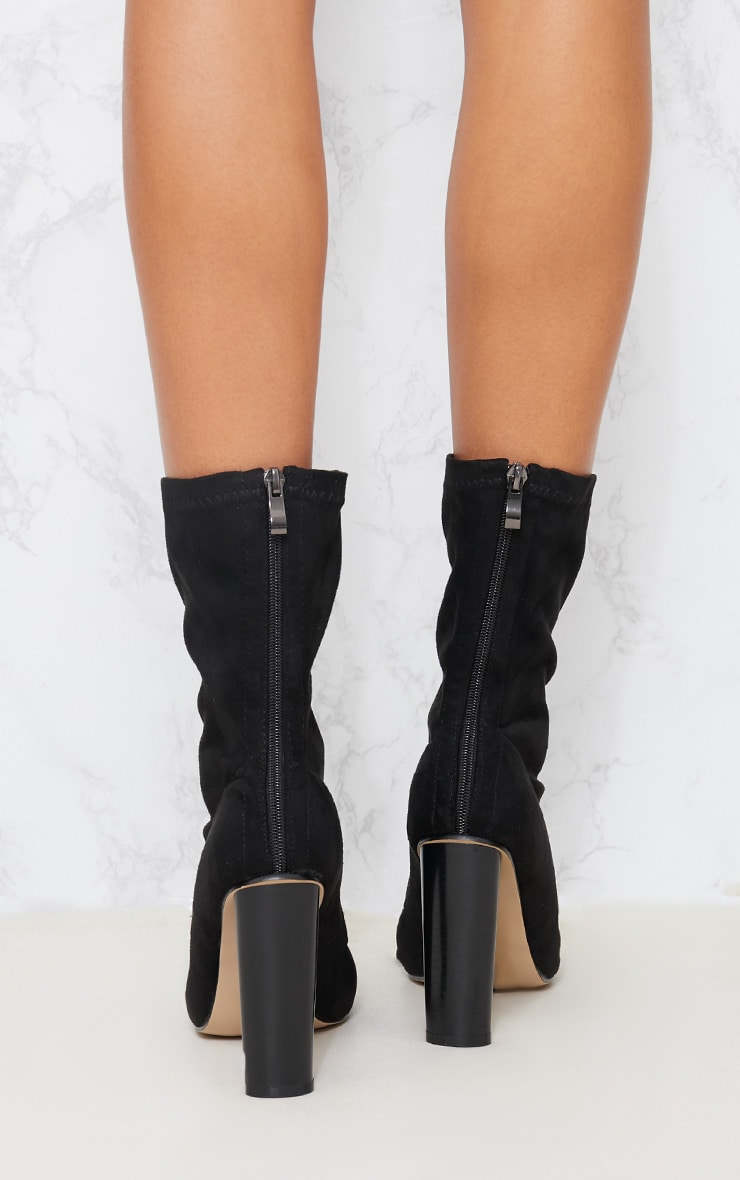 Black Faux Suede Sock Boot 4