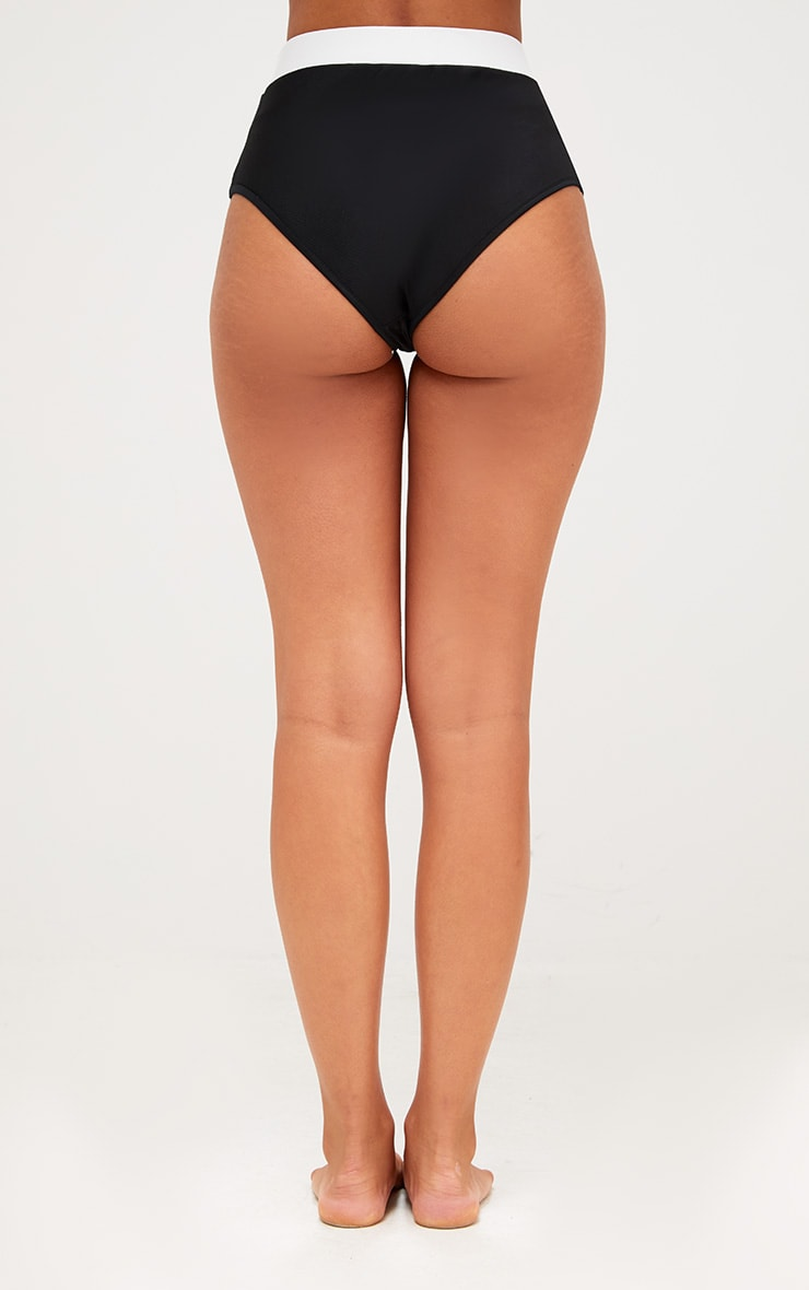 Black Contrast High Waisted Bikini Bottoms 4