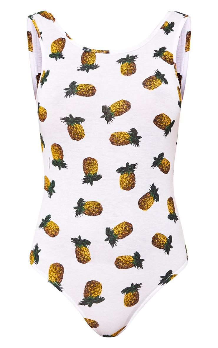 White Pineapple Print Scoop Back Thong Bodysuit 3
