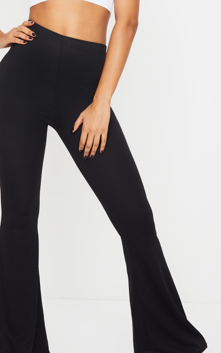 Black Ribbed Flared Trousers 4