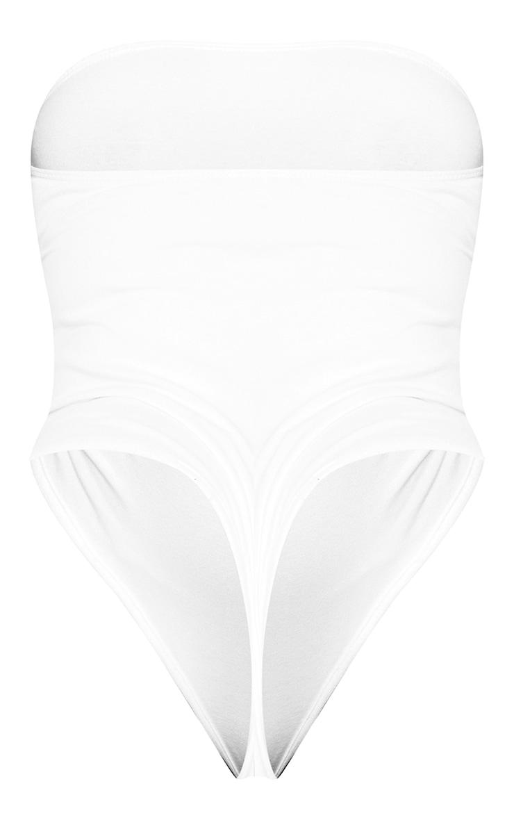 Plus White Cotton Blend Strapless Bodysuit 6
