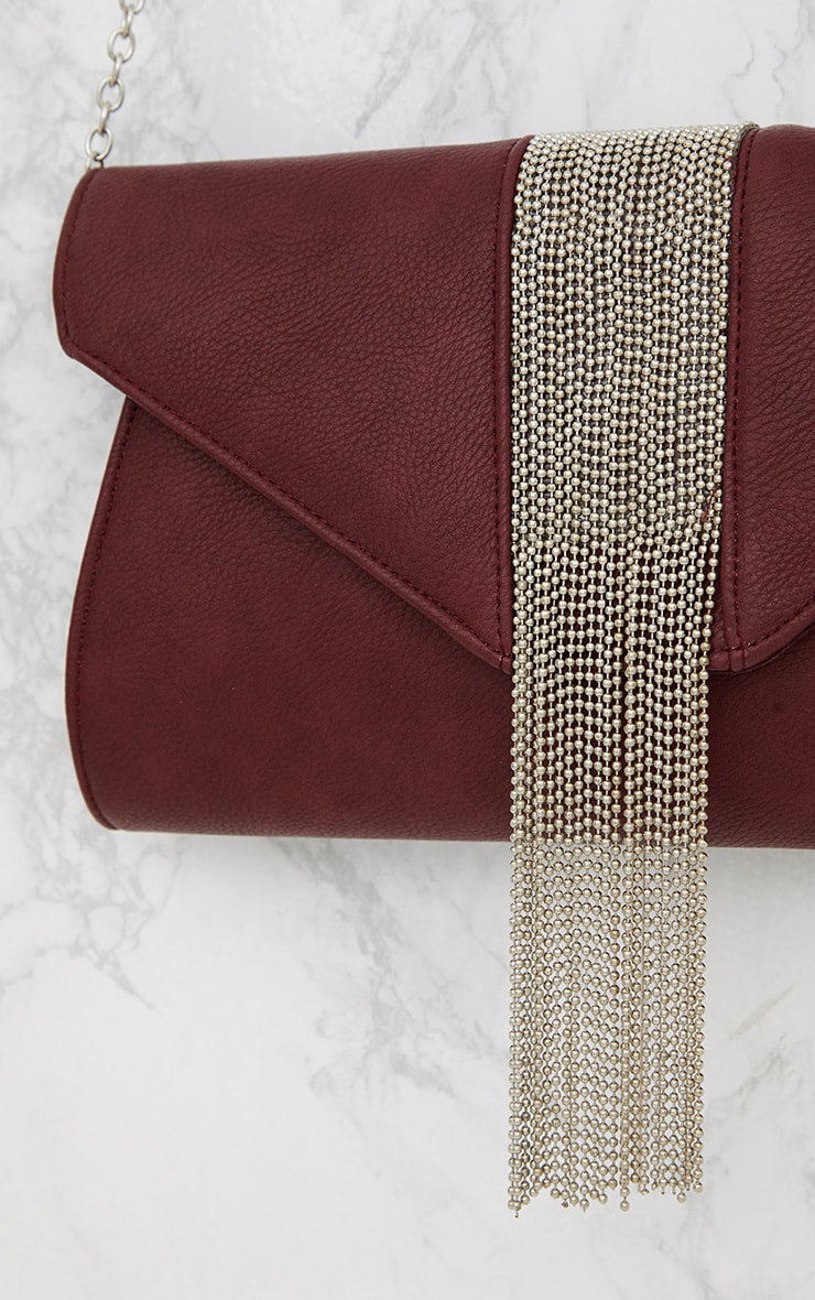 Burgundy Chain Drop Envelope Clutch 4