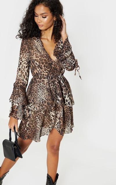 Brown Leopard Print Chiffon V Neck Tiered Skater Dress