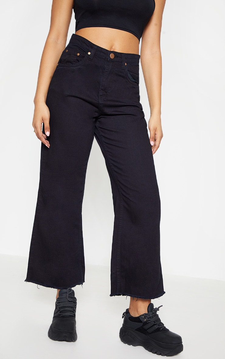 Tall Black Cropped Wide Leg Jean 2