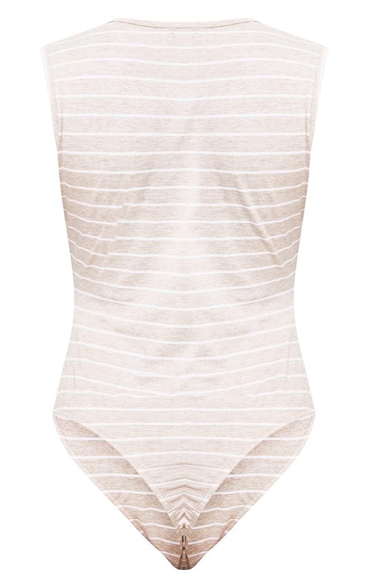 Oatmeal Stripe V Neck Thong Bodysuit 4