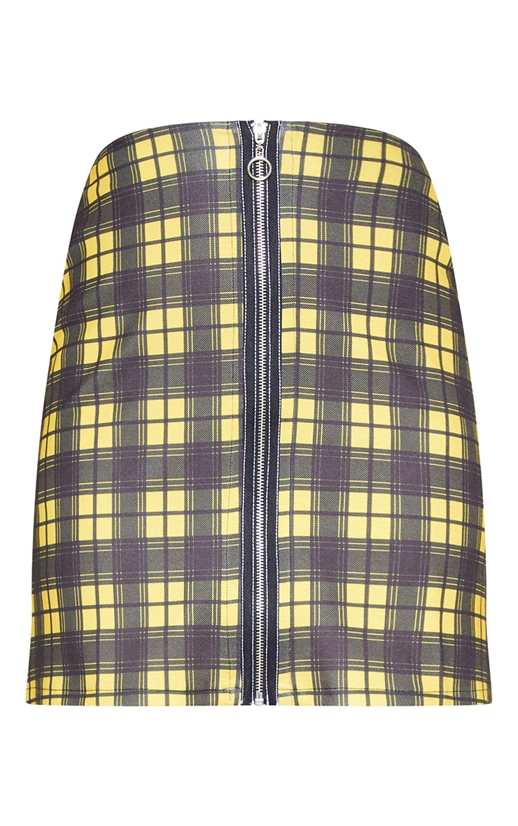 Tall Mustard A Line Checked Zip Front Skirt 3
