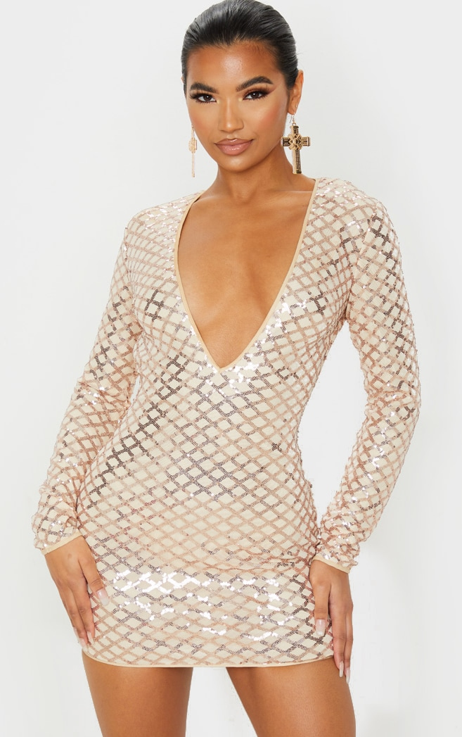 Rose Gold Patterned Sequin Long Sleeve Plunge Bodycon Dress 4
