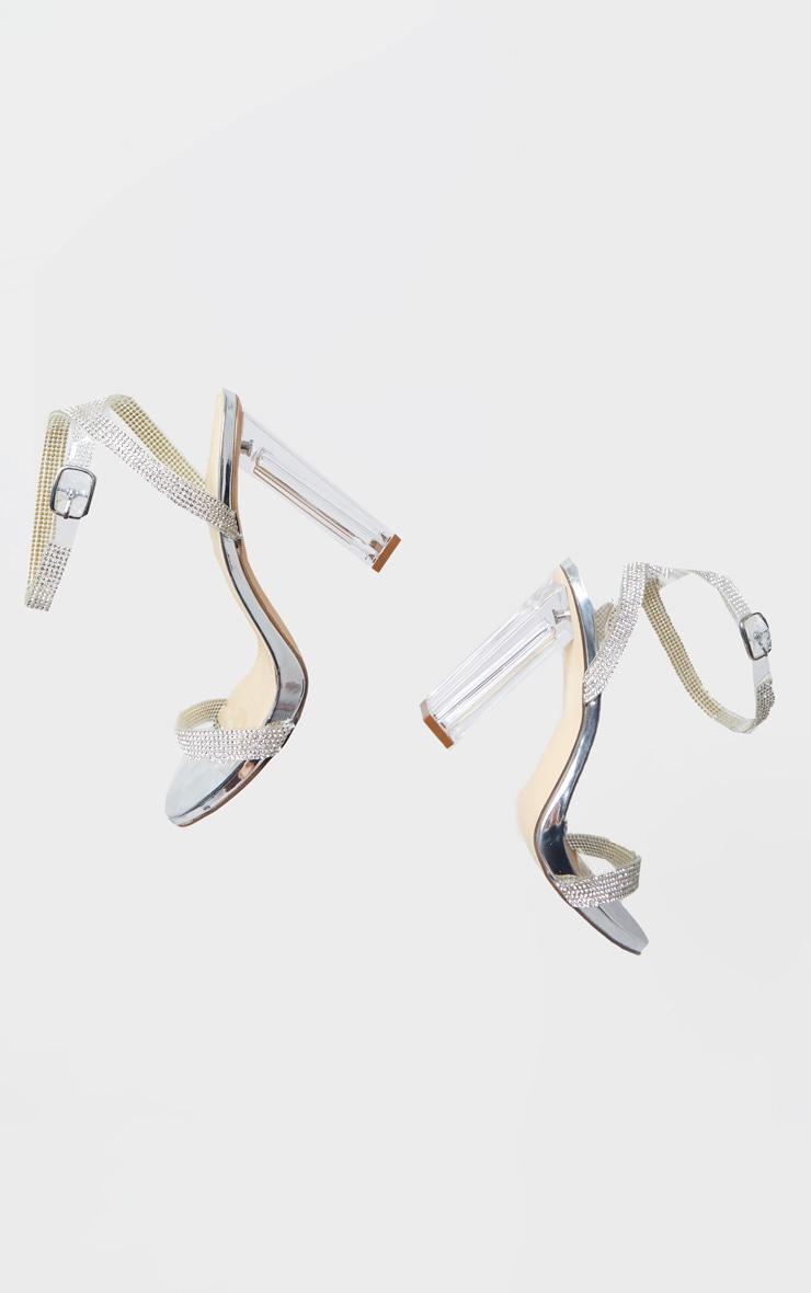 Silver Diamante Strap Clear Block Heel 5