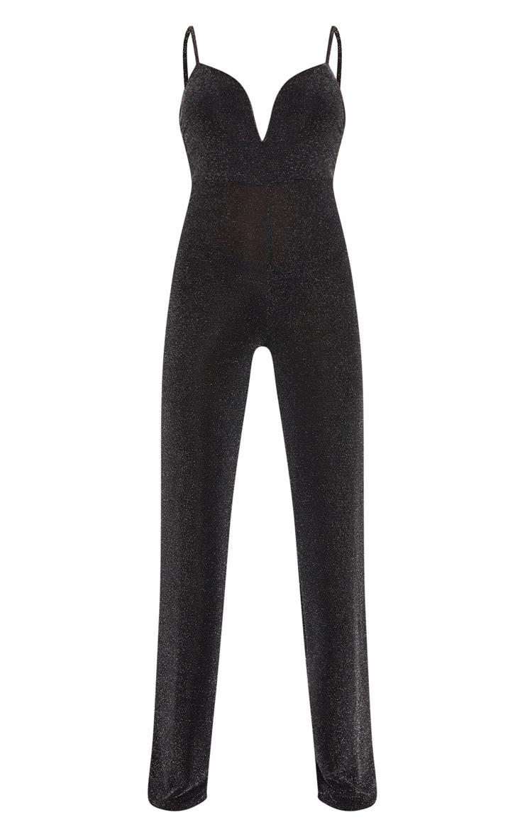 Black Textured Glitter V Bar Bandeau Jumpsuit 4