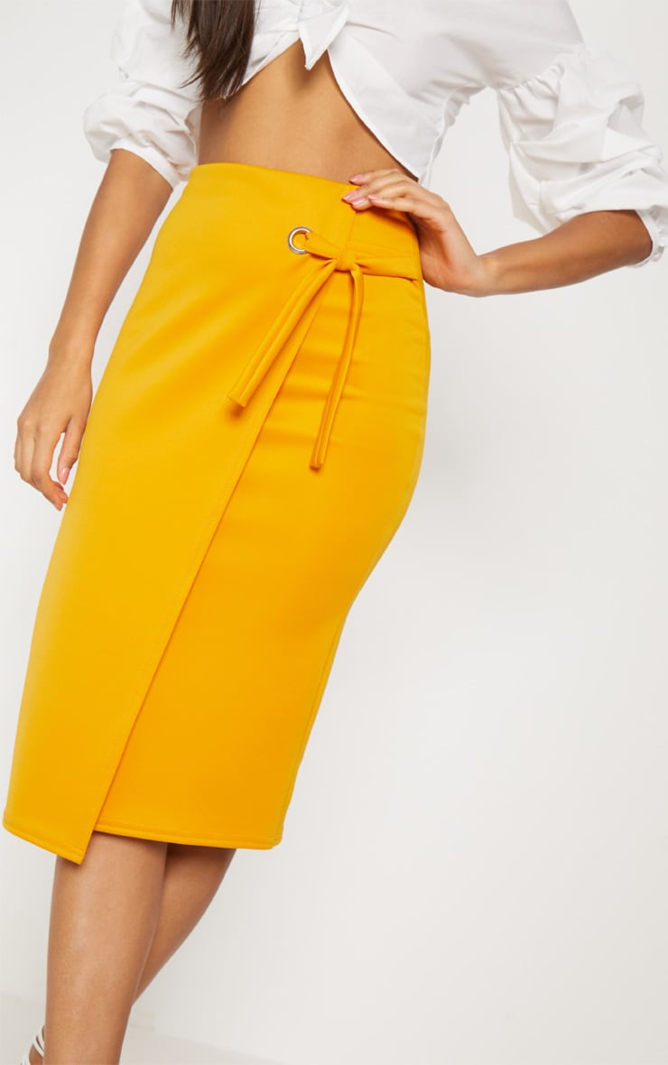 Orange Eyelet Detail Wrap Pencil Skirt 5