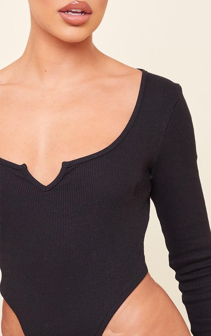 Black Rib V Cut Out Long Sleeve Bodysuit 4