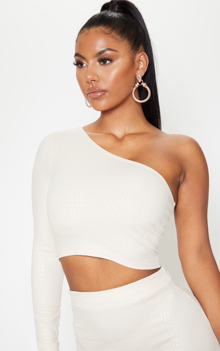 Nude Crepe Textured One Shoulder Long Sleeve Crop Top 5