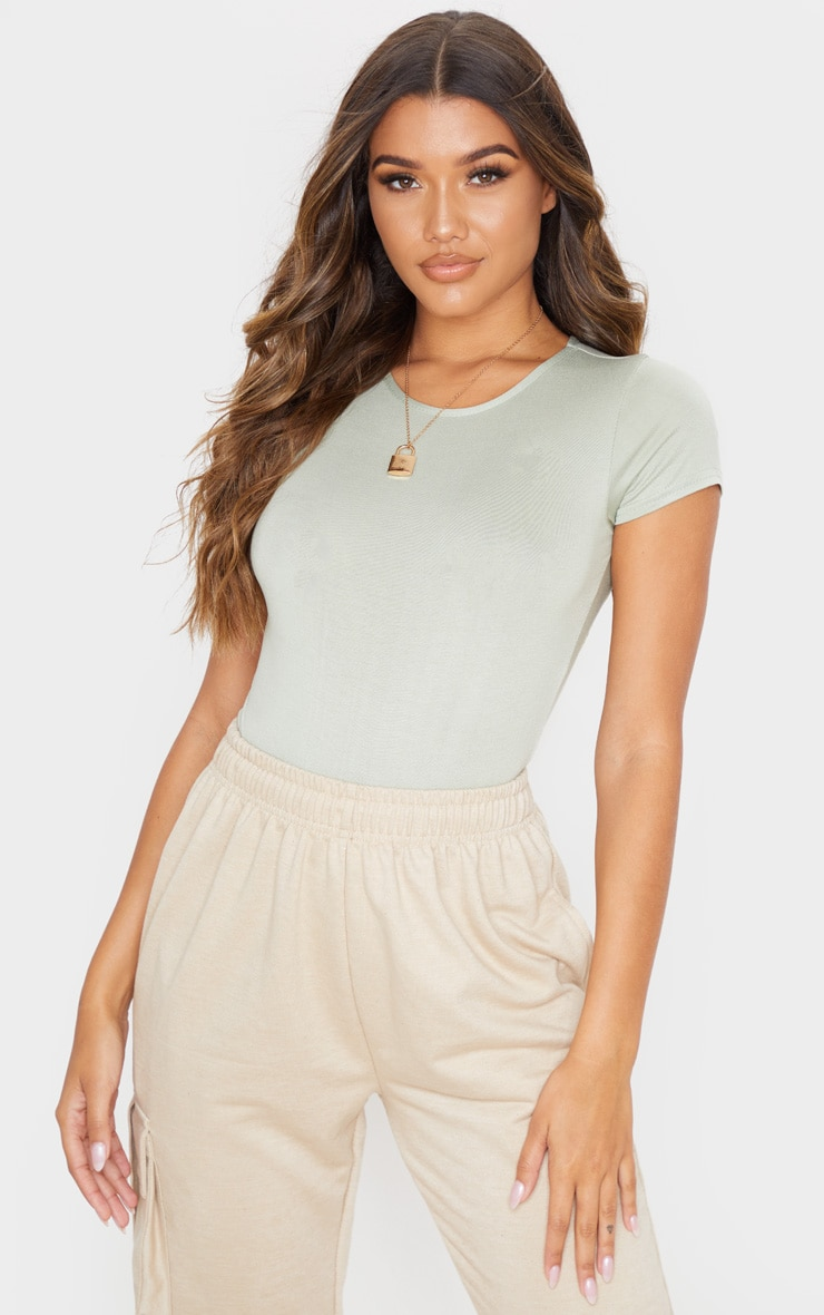 Sage Khaki Jersey Fitted Short Sleeve Bodysuit 1