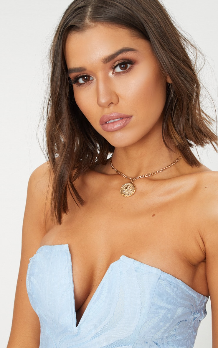 Dusty Blue Lace V Bar Bandeau Midi Dress 5