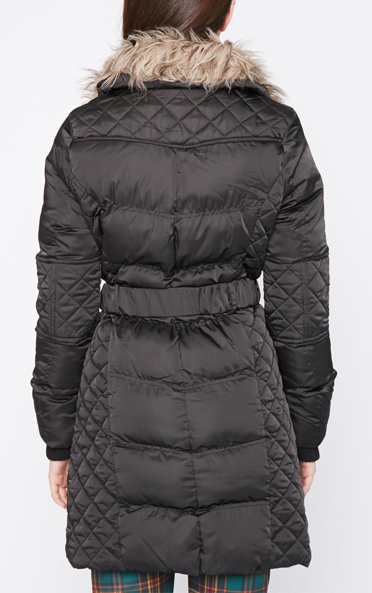 Nita Black Longline Fur Collar Belted Bubble Coat-16 2