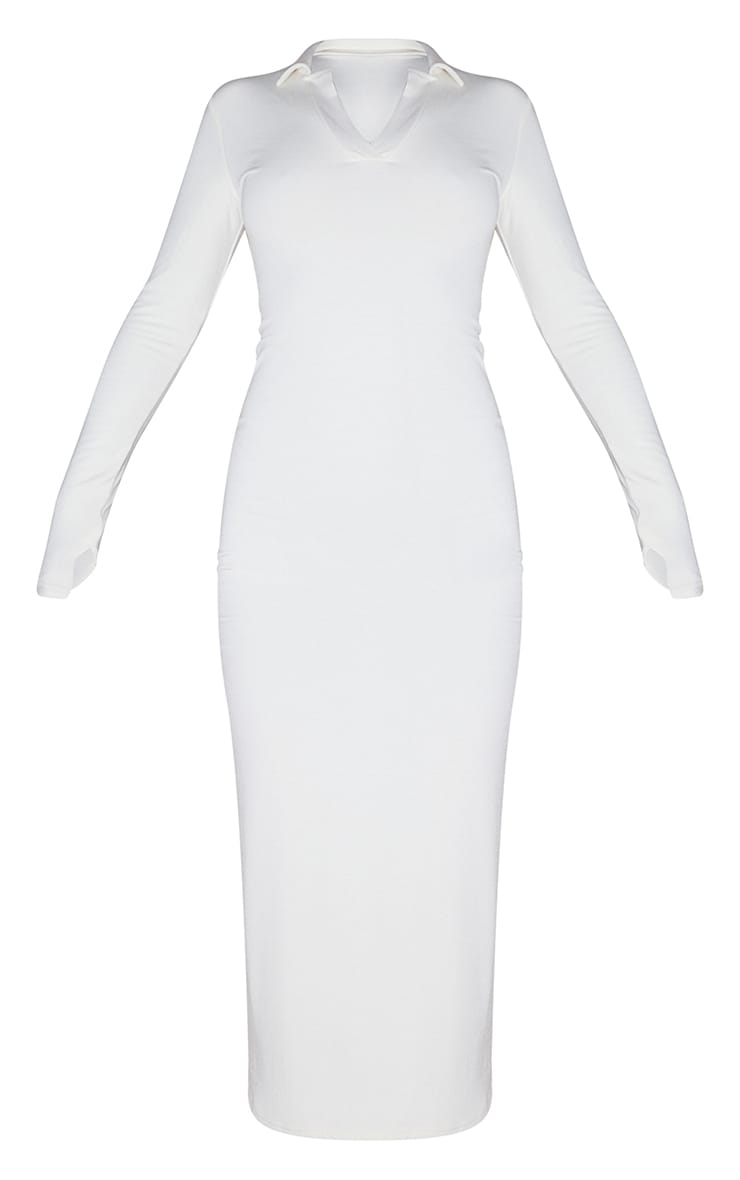 Recycled Cream Contour Jersey Split Detail Thumb Hole Midaxi Dress 5