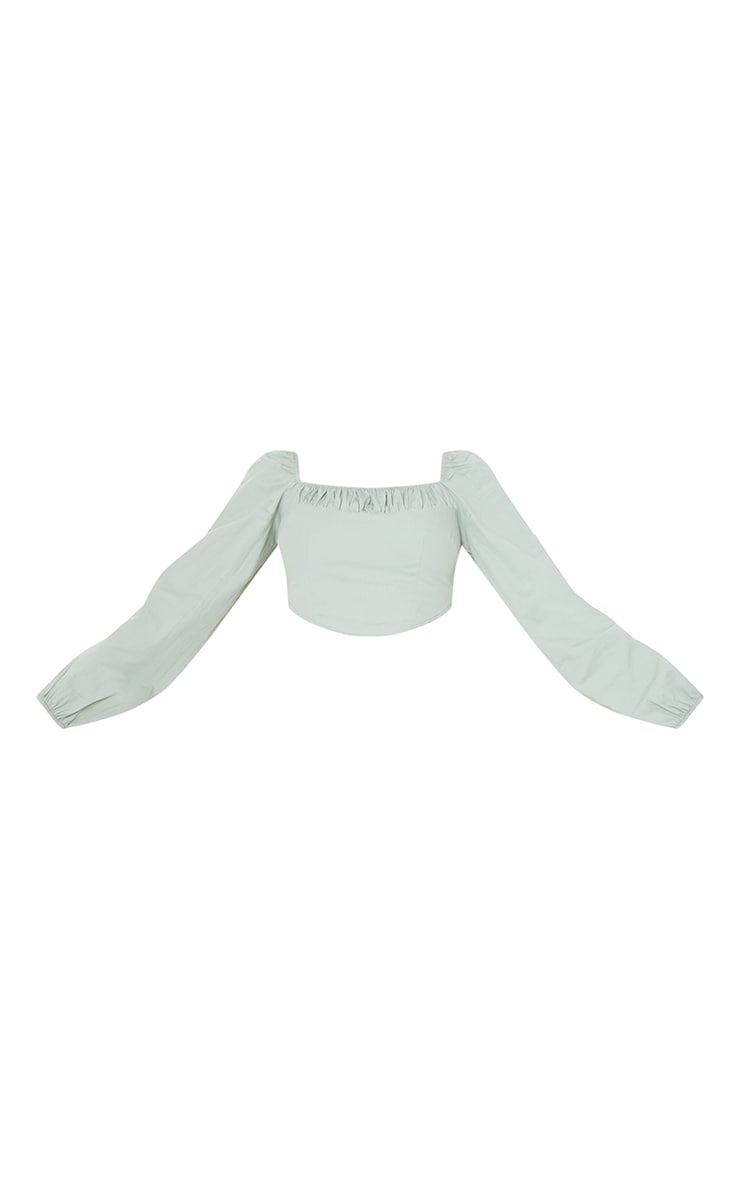 Tall Sage Green Corset Detail Long Sleeve Cropped Blouse 5