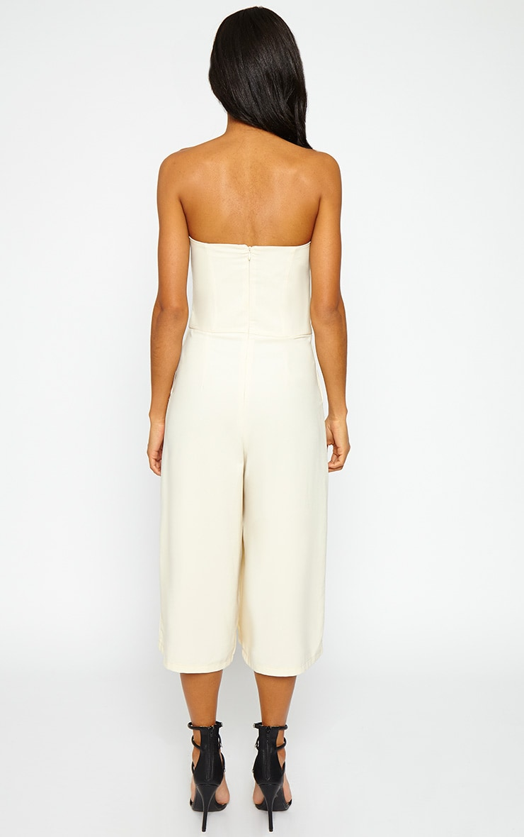Ethelyn Cream Bandeau Culotte Jumpsuit 2