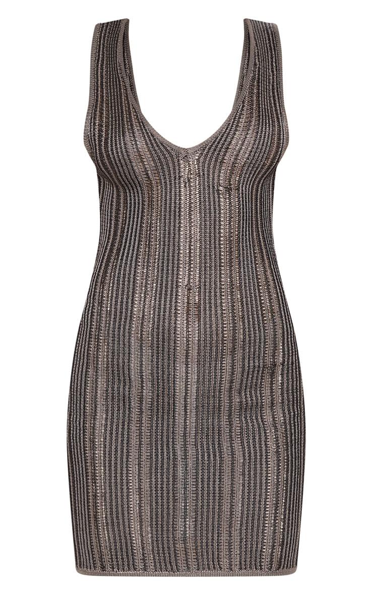 Black Striped Metallic Knitted Dress  3