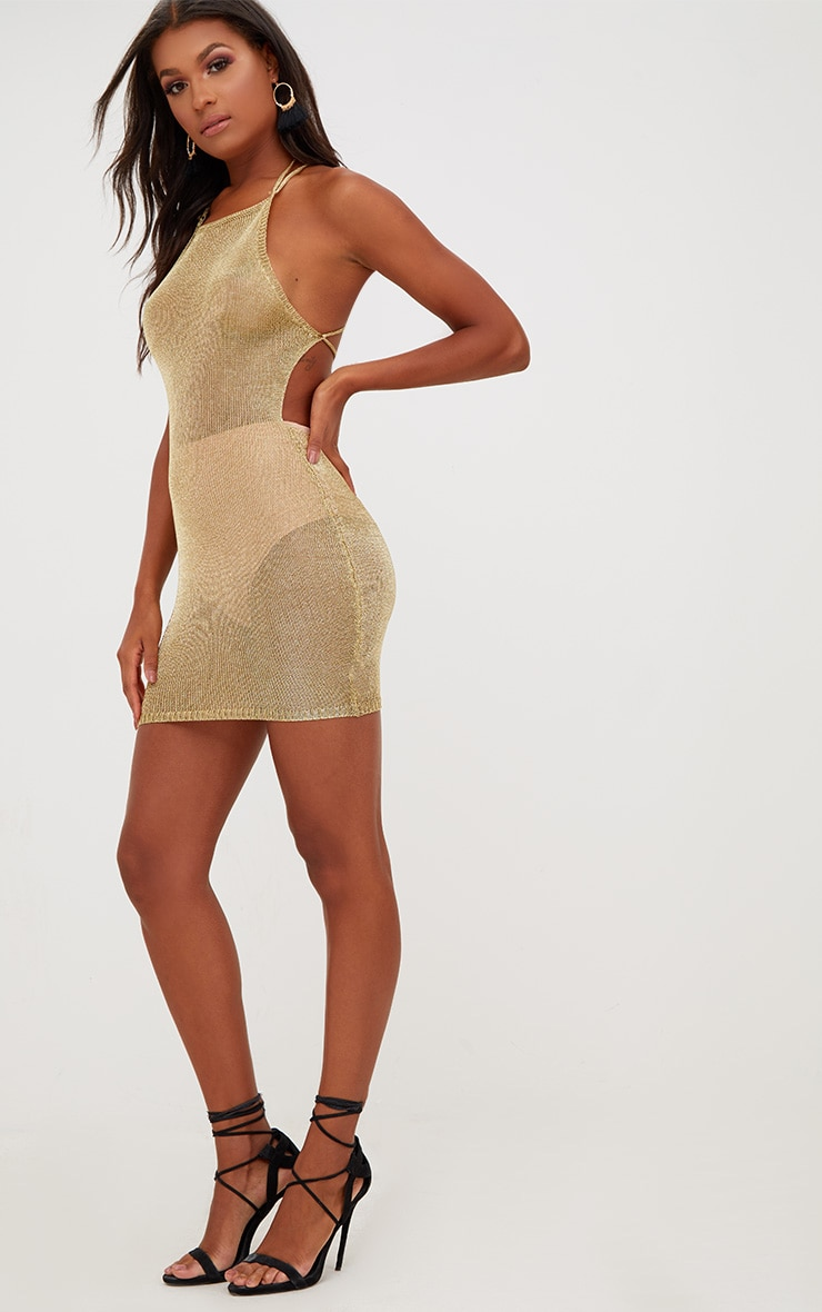 Charlay Gold Sheer Metallic Knitted Halterneck Dress 4