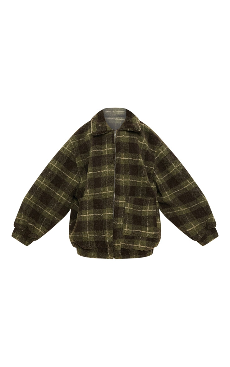 Khaki Checked Borg Jacket 3
