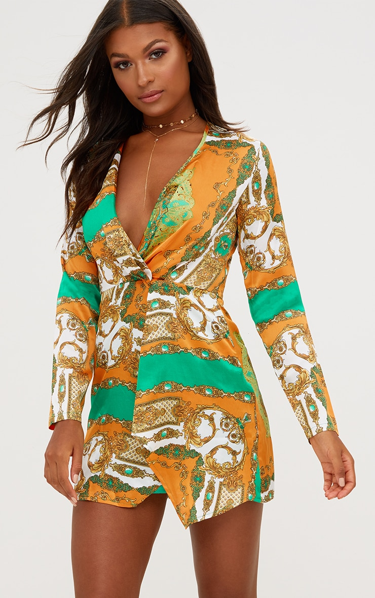 Orange Silky Long Sleeve Wrap Dress 1
