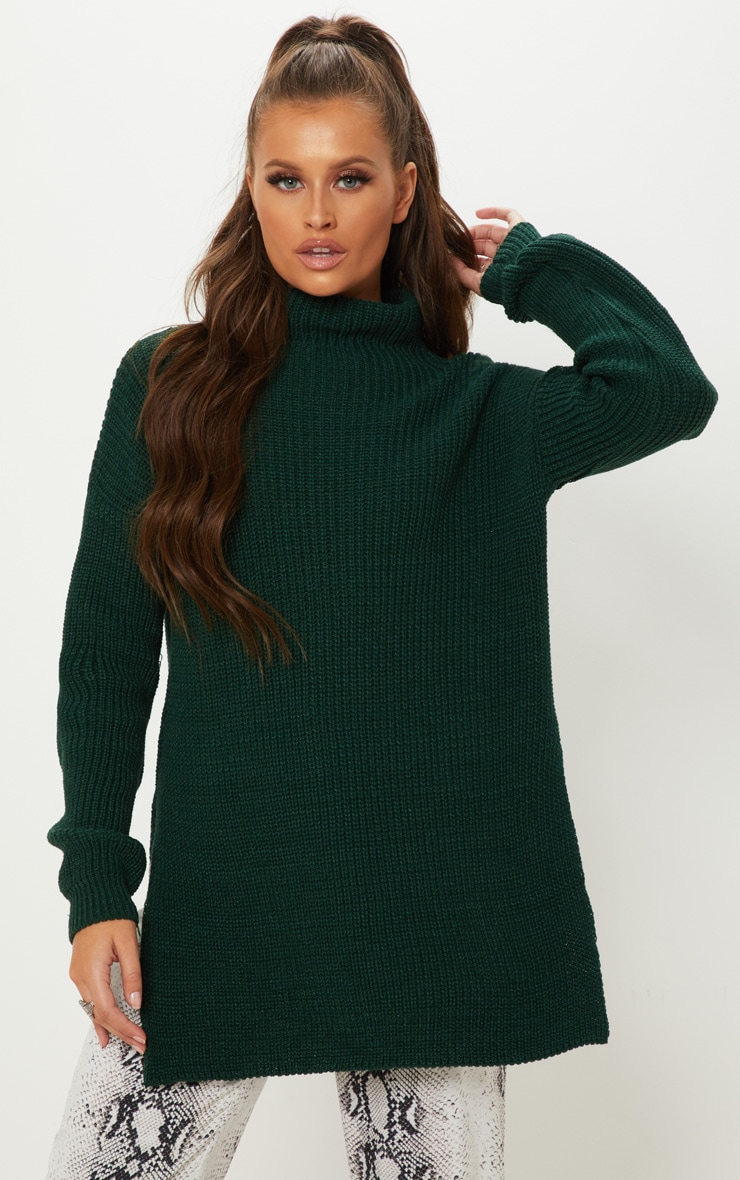 Bottle Green High Neck Oversized Jumper  1